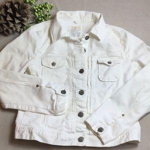 J Crew White Denim Jacket Medium Cotton Stretch